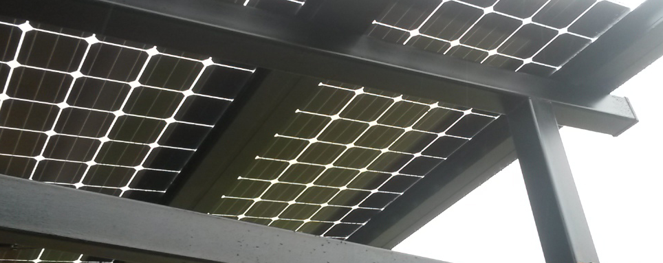 Bifacial solar patio cover.